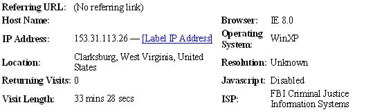 This Shows the FBI CIS Log In Data