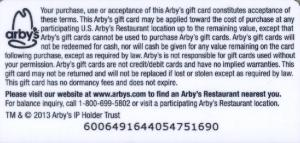 The Terms of Use of the Arby's Coupon