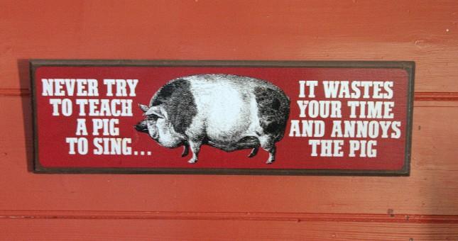 teach a pig to sing