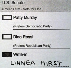 An Example of a Write-in Vote It's that simple! Just print clearly and spell the names correctly!
